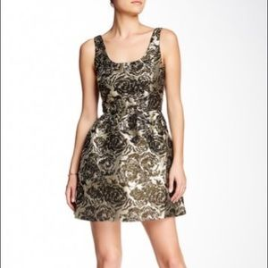 BB Dakota Black & Gold Brocade Dress